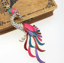 Pendant chain Betsey Johnson Color Enamel Rhinestone Peacock Charm Gold Necklace