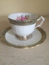 Aynsley Footed Cup & Saucer Green With Rise Floral Spray Gold