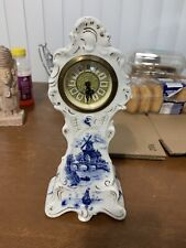 Antique German Mini Wind Up Dresser China Porcelain Royal Blue Delft Clock