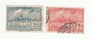 Uruguay 1939. Airmail. On Ox-cart. 20c & 75c. Used