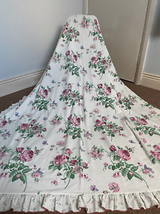 2 Pairs Vintage Floral Country House Cottage Core Frilled Curtains 66w x 70l