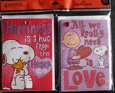 6 Peanuts Embellished Hallmark Valentine Day Card Snoopy Woodstock Charlie Brown