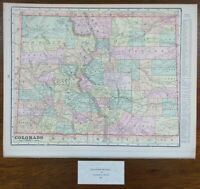 "Vintage 1900 COLORADO Map 14""x11"" ~ Old Antique Original BOULDER DENVER"