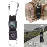 3in1 Outdoor Hiking Camping Survival Tool Carabiner Key Ring Compass Thermometer