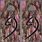 Pink Camo Deer Head 025 cornhole board vinyl wraps stickers posters decals skins
