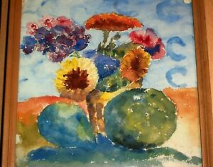 1941 Watercolor Painting  Still Life Flowers Fruit , Coronado New Smyrna Florida