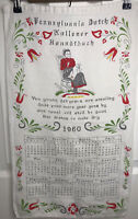 Vintage 1960 Pennsylvania Dutch Calendar Tea Towel Kitchen Folk Art Excellent