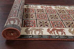 Animal Pictorial Oushak 12 ft Runner Rug Hand-made Oriental Wool Carpet 3'x12'