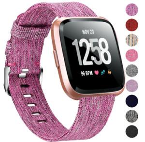 For Fitbit Versa 1 2 gen / Lite Canvas Fabric Wristband Watch Wrist Band