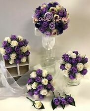SILK WEDDING BOUQUET PURPLE LAVENDER IVORY LILAC ROSE FLOWERS ROSES FLOWER SET