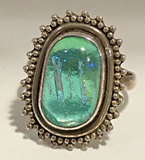 New Sterling Silver .925  Dichroic Glass Green Aqua Ring Size 7
