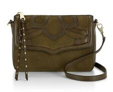 NWT $295 REBECCA MINKOFF SUEDE / LEATHER OLIVE LAURIE CROSSBODY SHOULDER BAG