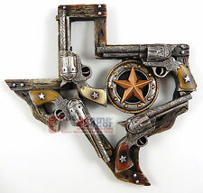 Western Rustic Texas Map Pistols Stars Wall Plaque Faux Wood Look 10 x 10 inches