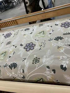 """Jacobean Crewel / Embroidered Work Upholstery Drapery Fabric 54"""" Wide Bty"""
