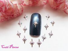 20pc Nail Art Silver Northern Stars Small 3D Metal Spangle Hollow Manicure Tips