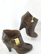 $159 Vince Camuto Women's Shiny Brown leather Yonkers ankle boots Gold Zipper 6