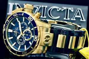 NEW Invicta Men 52MM CORDUBA IBIZA Chronograph BLUE DIAL GoldTone S.S Watch