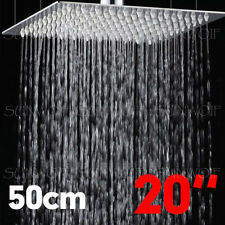 20'' Square Stainless Steel Shower Head Rainfall Bathroom Top Sprayer Ultra Thin