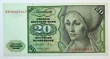 20 MARK 1977 GERMANY BANKNOTE, OLD MONEY CURRENCY UNC, RARE, No-1520!