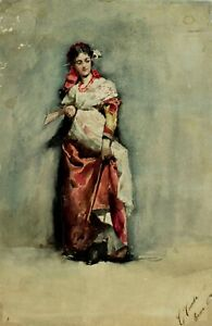 Casimiro Tomba (Italy,1857-1929) watercolor painting antique