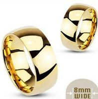 316L Stainless steel gold-plated plain wedding band, 8mm wide, combined shipping