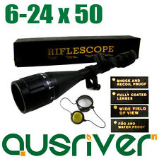 Brand New 6-24x50 AOE Waterproof Red Green Crosshair Rifle Scope Distance Ring