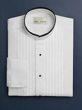 "New Mens Banded Mandarin Collar Tuxedo Shirt w/ Black Trim 1/2"" Pleated All Size"