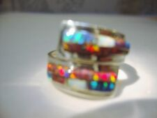 Size 6 Black Red FIRE OPAL LADIES Wrap Band Ring! Sterling Silver 925 Kingsman