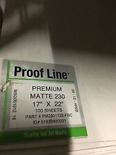 """Proofline Premium Matte 230 Inkjet Paper 17"""" X 22"""" 100 Sheets Digital Fineart"""