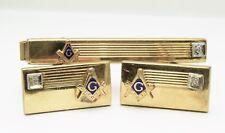 Vintage Masonic Cufflinks And Tie Bar Set by Anson 1-20 12k Gold Filled Diamond