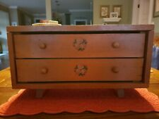Vintage Wooden Baby Doll Furniture Dresser Chest of Drawers 2 Rose Decals 15.75
