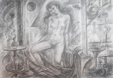 1978 Surrealist print nude woman laboratory signed