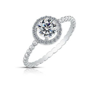 Sterling Silver Solitaire Halo Engagement Ring Promise Ring, Moissanite Ring