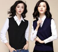 Women Casual V Neck Knit Vest Sleeveless Sweater Jumper Pullover Waistcoat Top