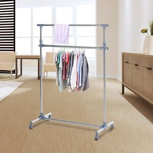 Heavy Duty Clothes hanger With wheels silver/Grey stainless Steel 15kg