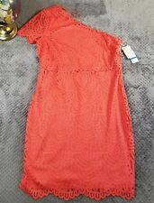 1.State One Shoulder Bodycon Dress Pink Coral Poppy Lace $99 Womens Sz XL