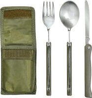 3 Piece Folding Chow Set with Pouch Camping Travel Hunting Military Olive Drab