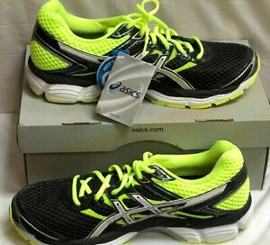 New ASICS Gel-Cumulus 16 Mens Running Shoes Black Neon Yellow Size 8 T439N