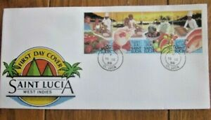 SAINT LUCIA  TOURISM WONDERFUL SEAFOOD AND PARADISE BEACHES SET 1988 FDC