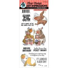 New Art Impressions CLEAR Rubber Stamp set GUINEA PIG OUT SET FREE USA SHIP BDAY