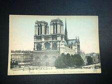Vintage Postcard Paris France Notre Dame Watercolored By Hand