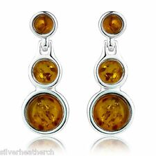 925 Sterling Silver Triple Round Amber Cabachon Stud Earrings