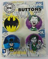 DC Comics Originals ATA-Boy Batman & Joker Buttons Pins Set Of 4 Collectible New