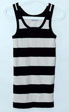 By MALENE BIRGER Sleeveless Striped Stretch Cotton Shirt Black White Color Sz S