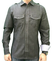 Mens charcoal grey Core Spirit denim look long sleeve smart shirt Size S/M/L NEW