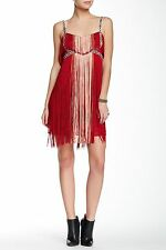 e7bb532d11b People Sz6 Flapping My Fringe Embellished Dress in Red Combo