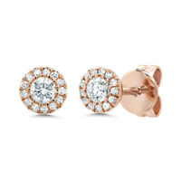 0.24CT 14K Rose Gold Natural Round Cut Real Diamond Halo Stud Earrings Jewelry