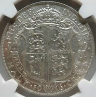 GREAT BRITAIN silver 1/2 Crown 1916 NGC AU 58 UNC George V.