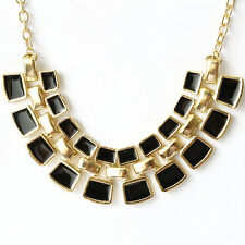 K9 Ladies Gold Plated Black Bib Bubble Collar Square Bead Statement Necklace