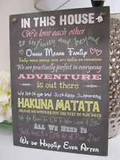 Handmade Wall Plaque Inspirational Disney House Rules Fun Gift Chalkboard Effect